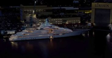 the megayacht Project Lightning shows off colorful lighting