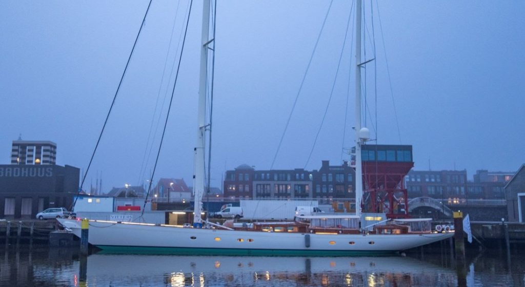 the sailing superyacht Meraki is the first launch of 2020 at Vitters Shipyard