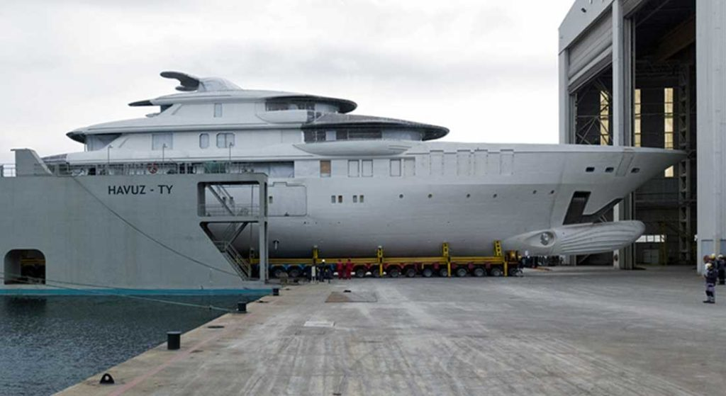 the Turquoise 74M yacht project transferred to her outfitting shed in December 2020