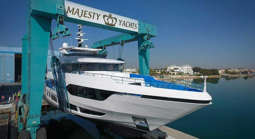the first Majesty 120 megayacht launched on February 18, 2020