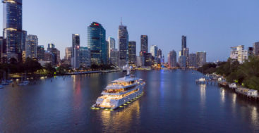 superyacht buoy mooring tests in Brisbane may attract yachts like Aurora, which visited in 2019