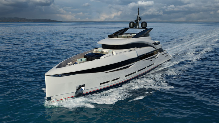 the ISA GT 45 megayacht has sporty styling