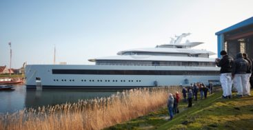 Moonrise makes her way from Makkum as the largest waterline length megayacht ever built in The Netherlands
