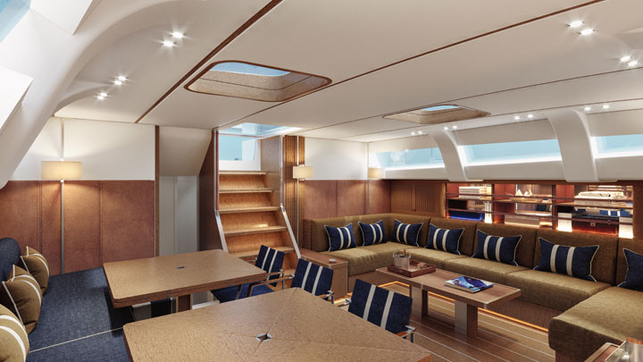 the interior decor for the first Swan 98 superyacht has navy tones
