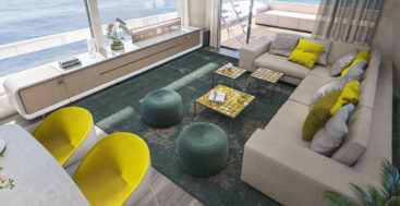 Hot Lab designed yellow and turquoise interior packages for the Van der Valk Pilot range of megayachts