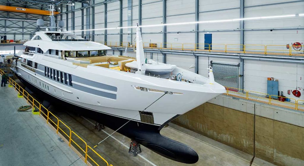 the megayacht Project Castor launched on May 14, 2020 from Heesen