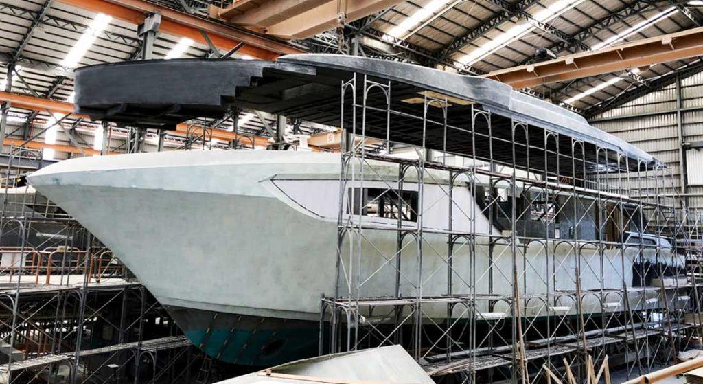 a fully custom Horizon CC98 megayacht is in build