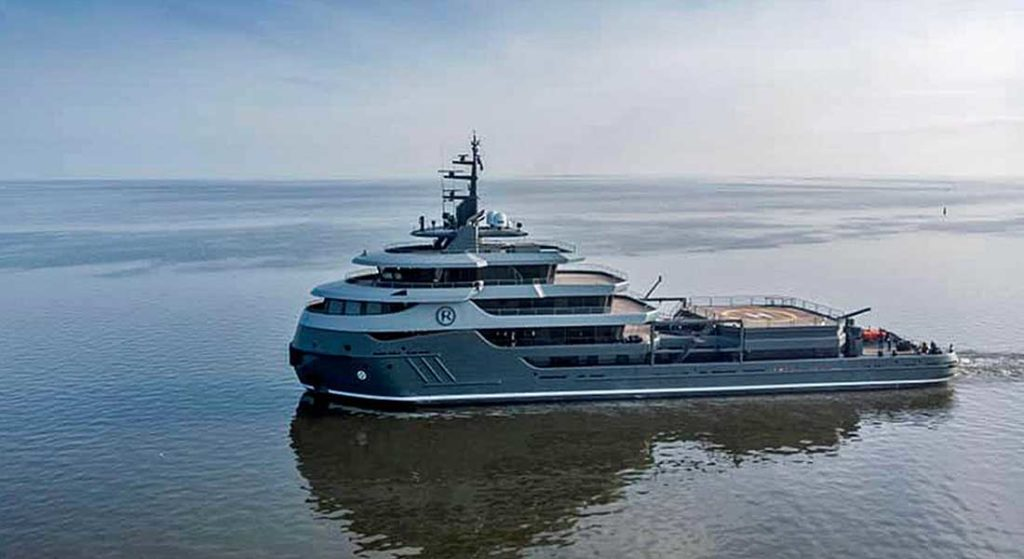 the megayacht conversion Project Ragnar set out for sea trials on May 20