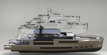 the Antonini Navi UP40 is a superyacht hull platform adaptable to three superstructure styles