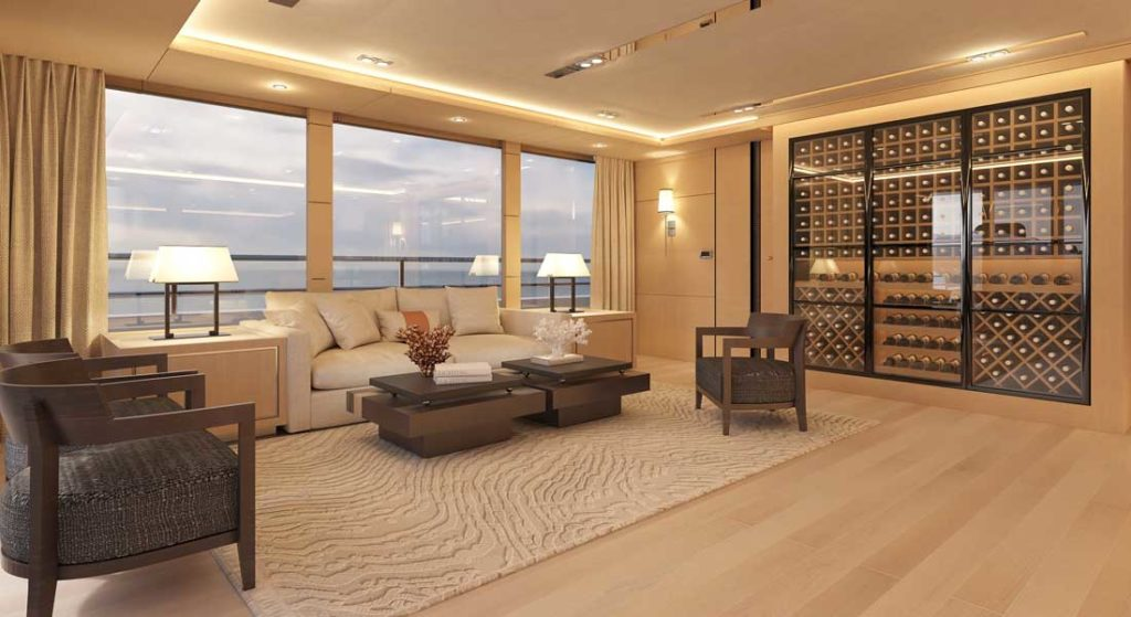 the Bering 145 megayacht has a massive wine display in the skylounge