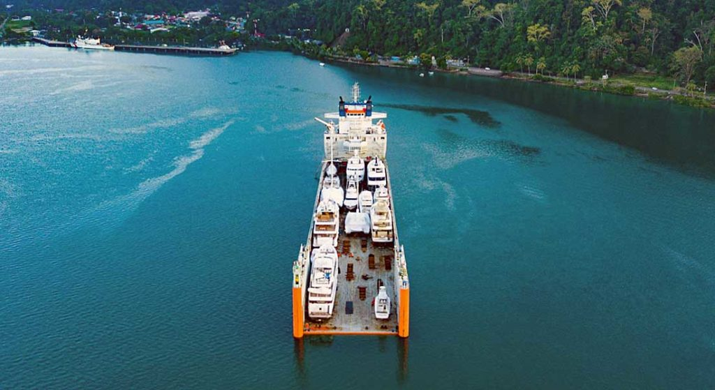 DYT Yacht Transport operates Super Servant 4 to transport megayachts