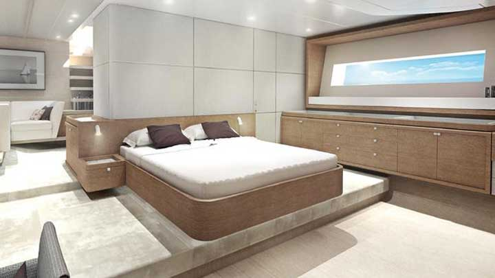 the RP42 sailing superyacht features interior design by Design Unlimited