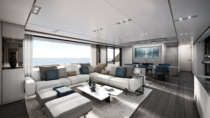 the Ferretti 1000 megayacht comes with two decor packages