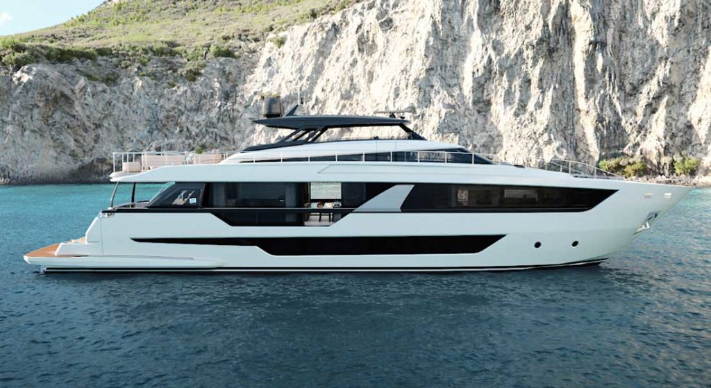 the Ferretti 1000 is the newest megayacht from Ferretti Yachts