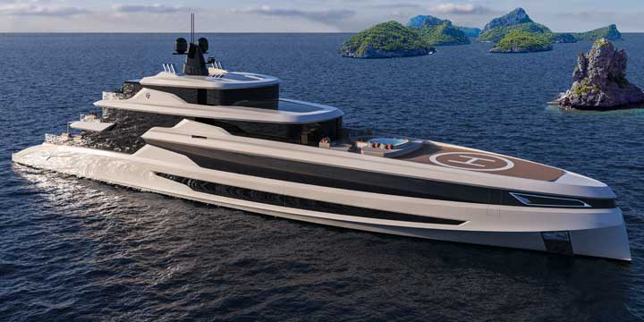 the Blanche superyacht concept by Fincantieri is rich in details