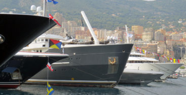 superyacht bows at the Monaco Yacht Show