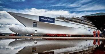 this Oceanco 109-meter megayacht transferred for outfitting in June 2020