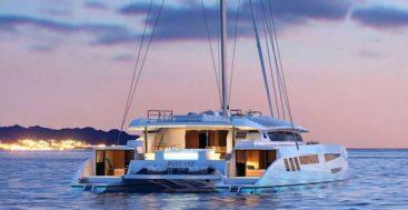 "the Catamaran 110 sailing superyacht from Pajot Custom Yachts the ""E Yacht"""
