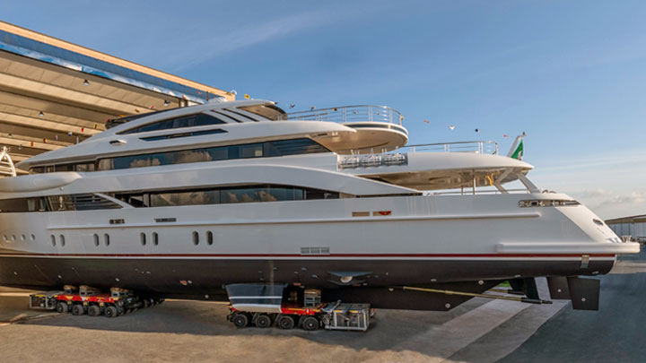 the fully custom superyacht Florentia launched at Rossinavi on June 13