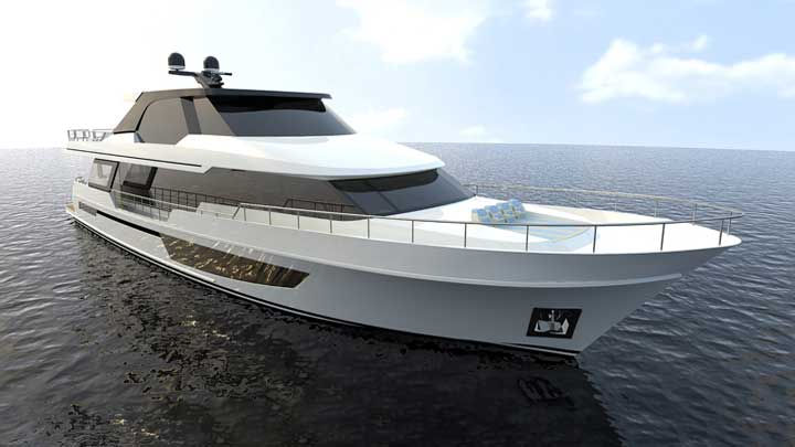 the Ocean Alexander Legend series includes the 32L megayacht