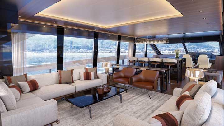 the Van der Valk Modern Flybridge megayacht has three interior decor choices
