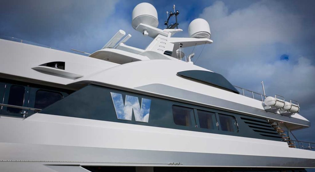 W underwent a 10-month refit at Feadship; she's among superyachts known by a single letter