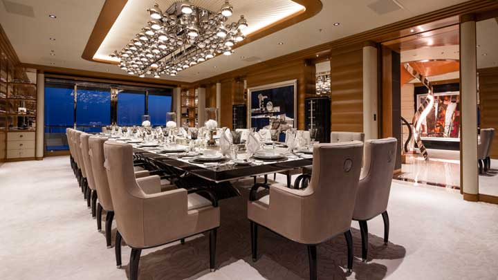 exquisite dining is the order of the day on the superyacht Lana
