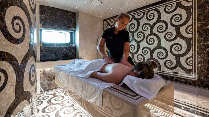 relax in the superyacht's massage area