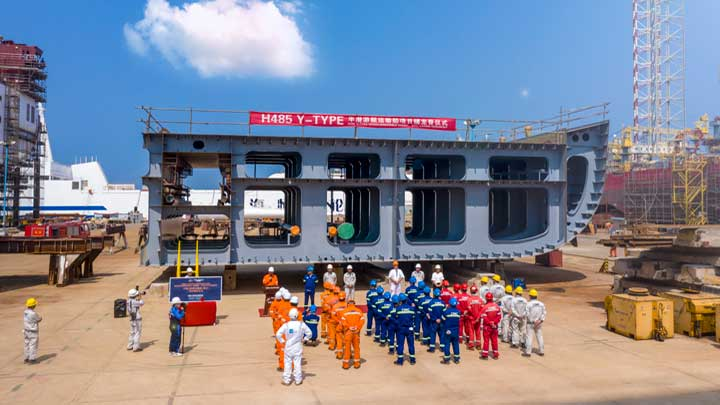 DYT celebrated a keel laying ceremony for its largest Super Servant superyacht carrier