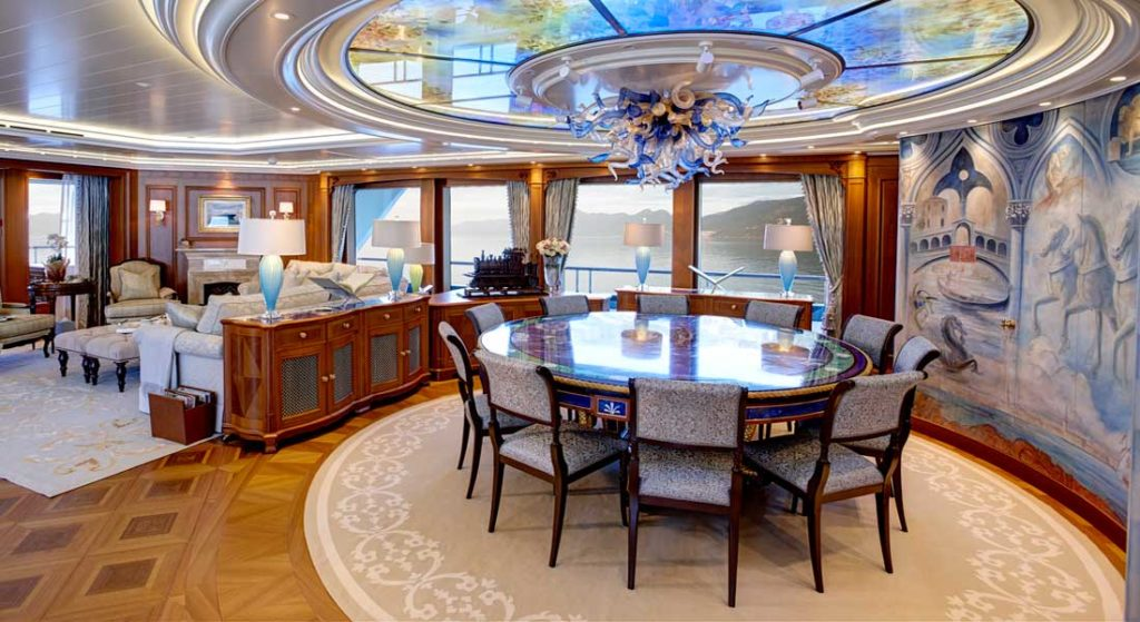 the superyacht Sea Owl is intricately designed