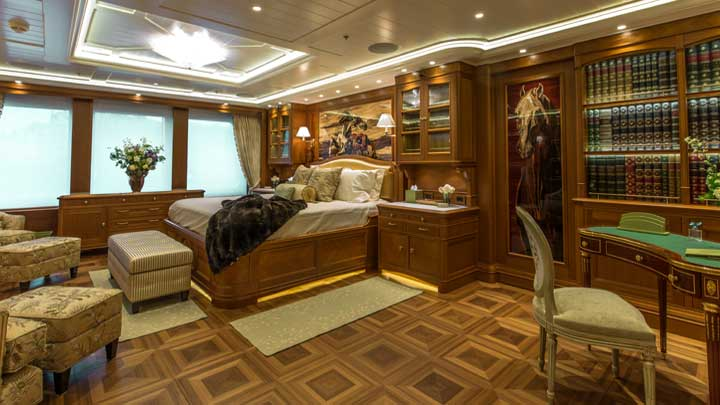 even the owners' suite aboard the megayacht Sea Owl is inspiring