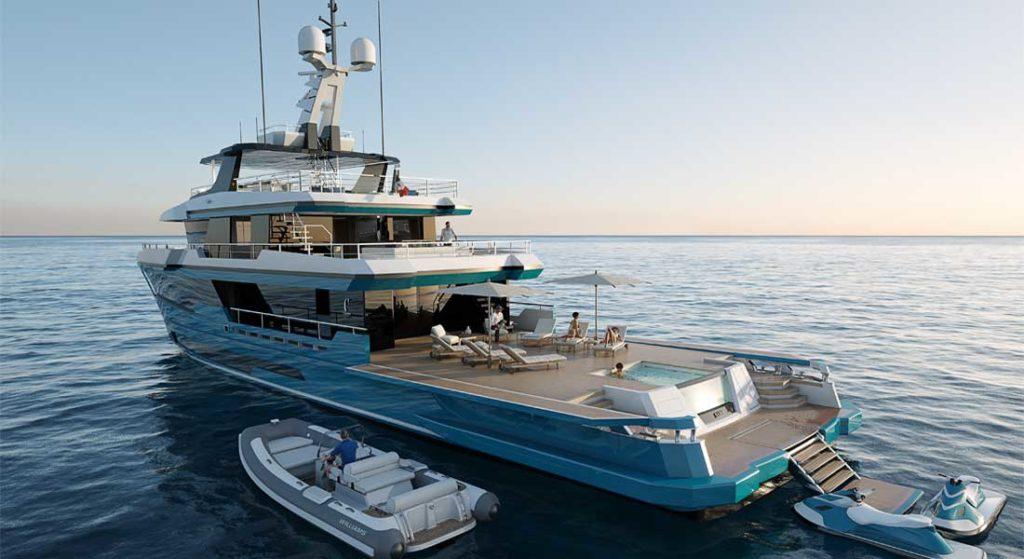 the Columbus 40 Crossover megayacht
