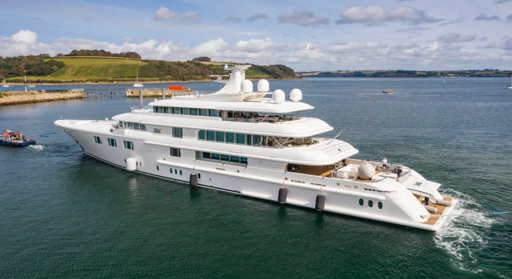 the megayacht Lady E relaunched at Pendennis in September 2020