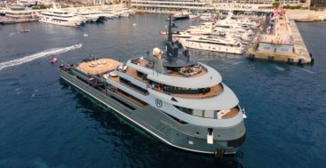 the superyacht Ragnar received a fire brigade salute at the Monaco Yacht Club