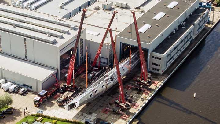 Project 404 hull turning took place at Royal Huisman's superyacht shipyard