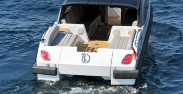 this Wooden Boats WB27 megayacht tender has Bentley tail lights