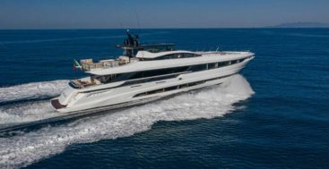 hull number one of the Mangusta GranSport 33 megayacht series is christened Perfect Lady