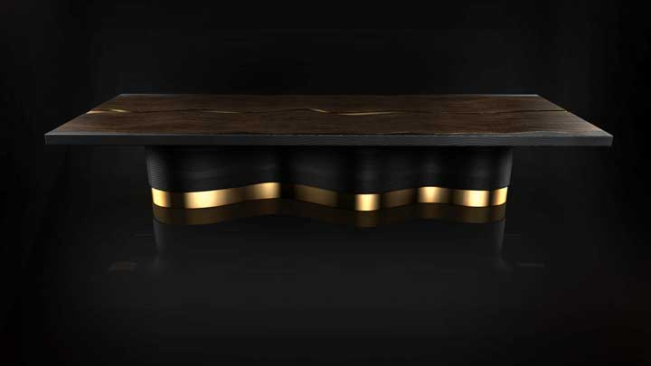 Silverlining's Provenance collection includes furnishings for superyachts like the Fluid Collection dining table