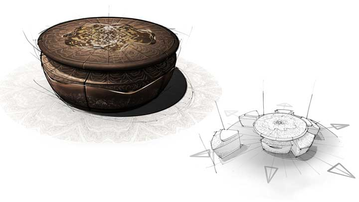 Silverlining's Provenance collection includes furnishings for superyachts like the Molten Helix table and stools set