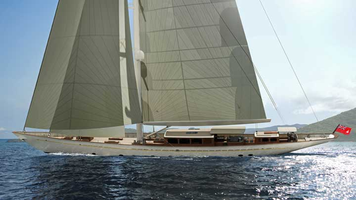 the sailing superyacht Rainbow II is being completed by Turquoise Yachts