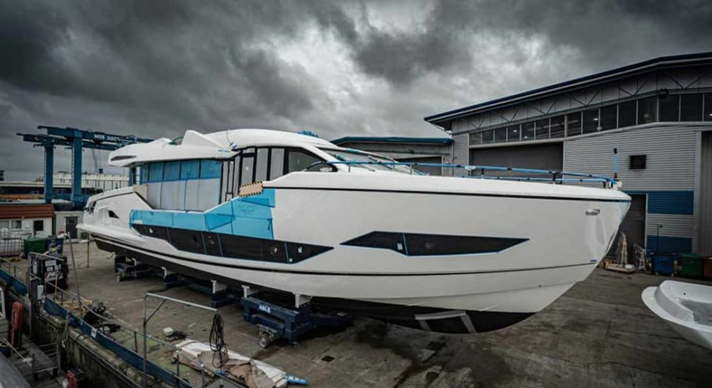 Sunseeker 90 Ocean megayacht moving out of her build shed