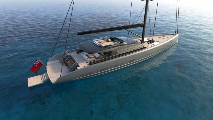 Dixon Yacht Design's Project Fly is a flybridge sailing superyacht