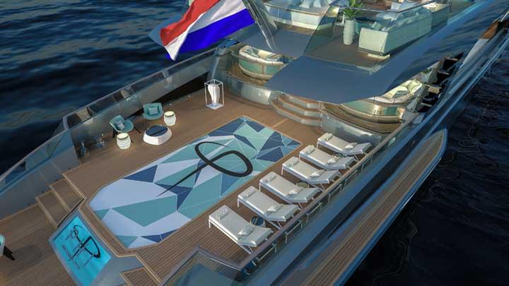 Royal Huisman is providing new peeks at Phi, its long, lean superyacht