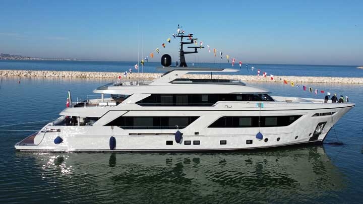 the Cantiere delle Marche megayacht RJ launched in January
