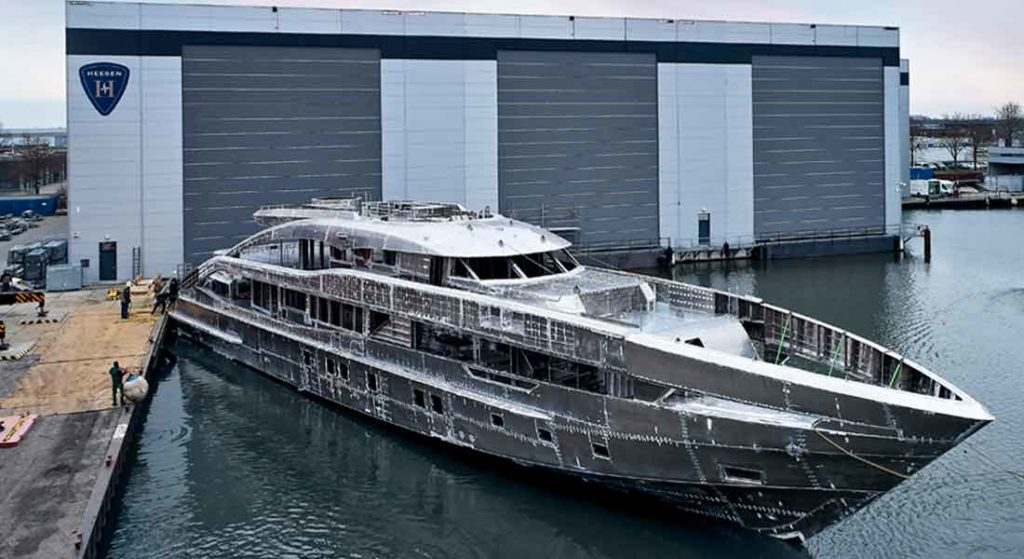 the Heesen megayacht Project Sapphire will be ready in 2022