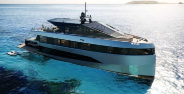 the Wally WHY200 megayacht is a full wide body design