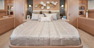 the master suite aboard hull number one of the Horizon E81 megayacht