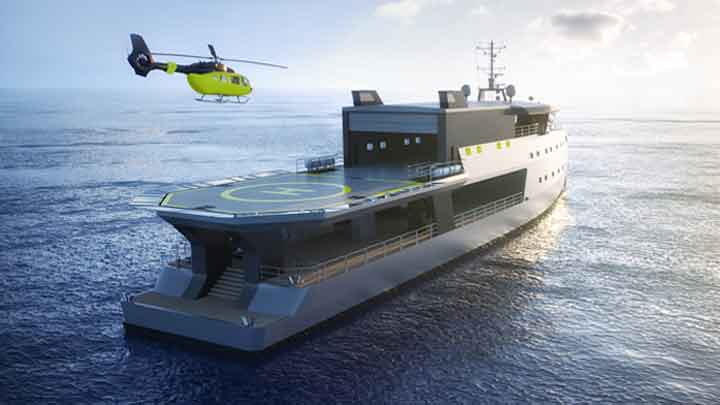 the Big Shadow superyacht concept is from Kirsten Schwalgien Design, with a heli hanger