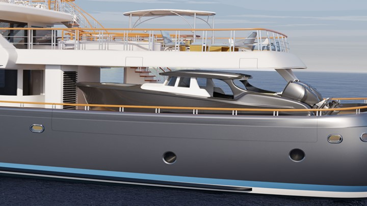 Liebowitz & Partners created the Commodore 57 megayacht concept for exploration with big tenders
