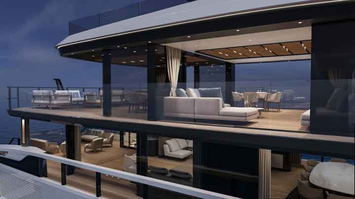 the Mangusta Oceano 39 megayacht makes a lot of use of glass